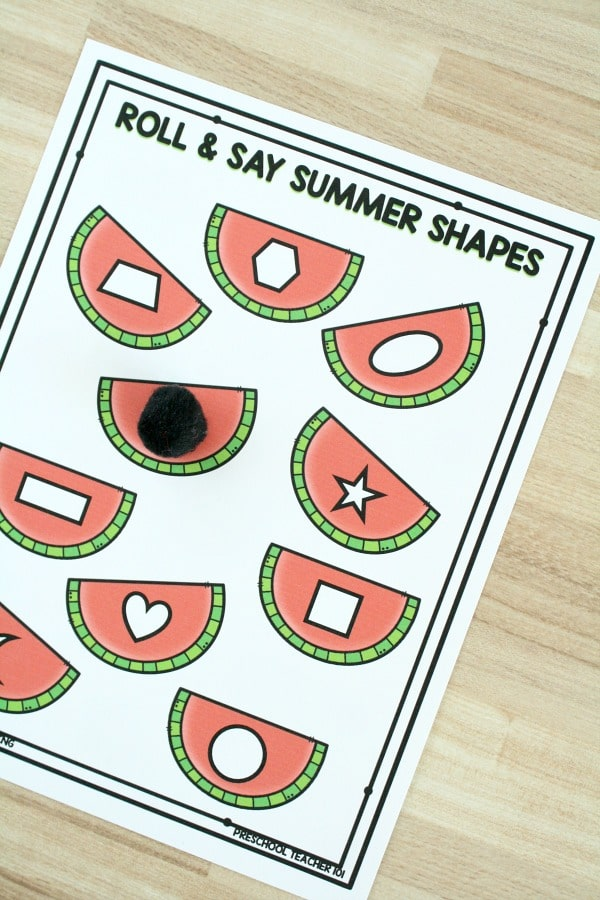 Free Watermelon Roll and Say Summer Shape Game