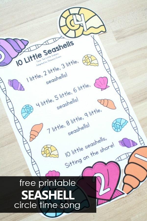 10 Little Seashells Preschool Circle Time Song for Summer