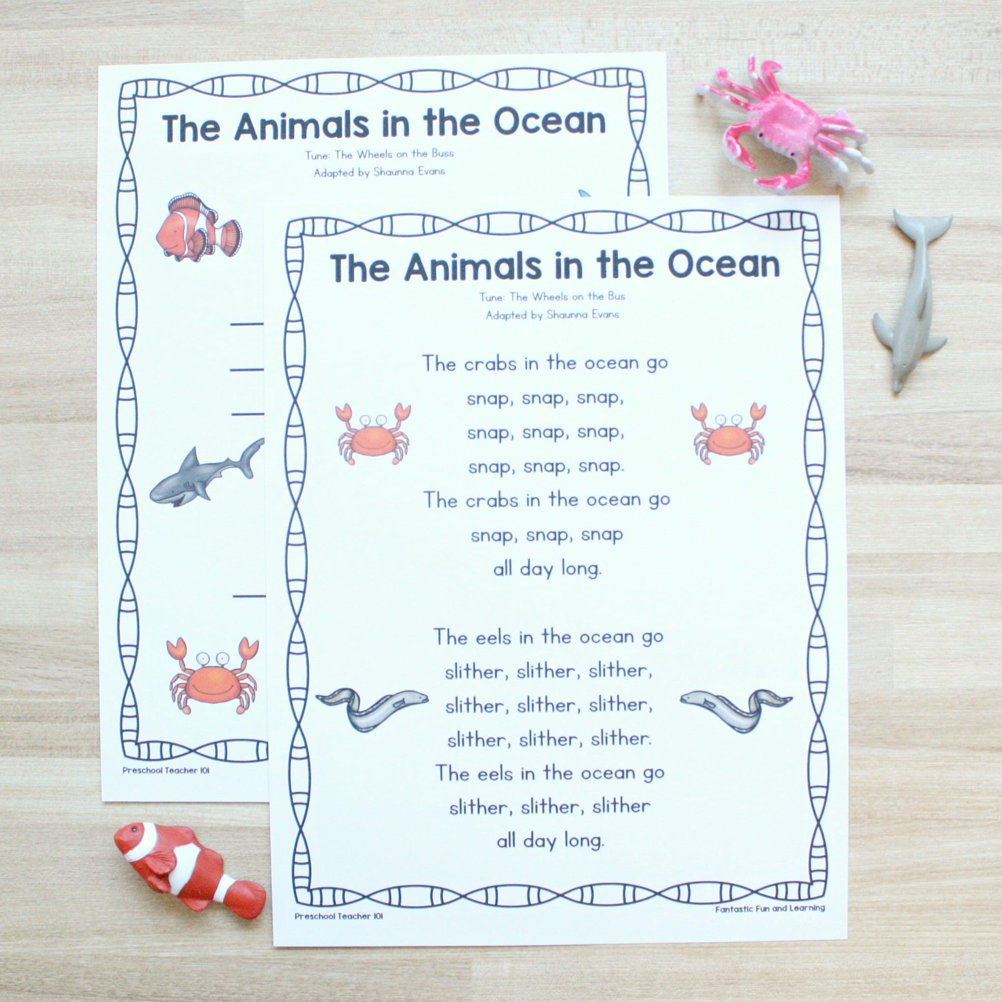 Animals in the Ocean Song