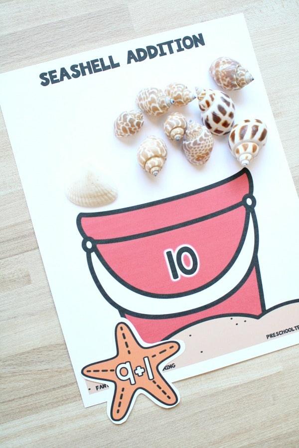 Free printable seashell addition game