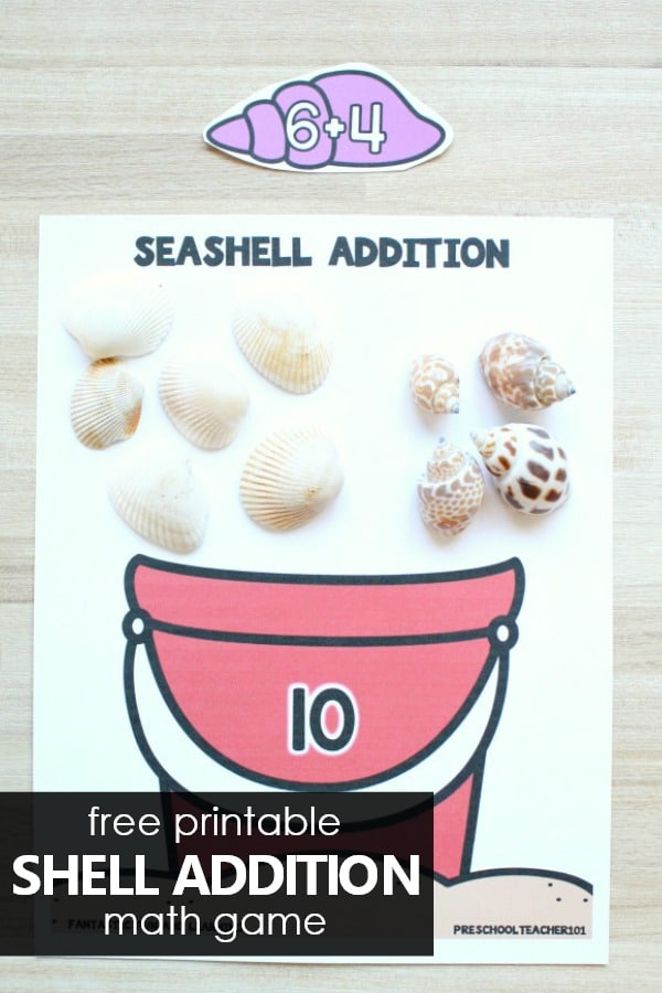 Free printable seashell addition math game and math center activity for preschool kindergarten or first grade