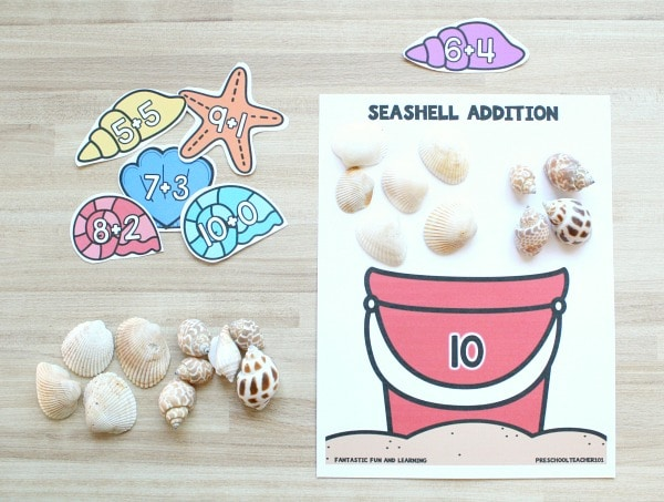 Free printable seashell summer math center game