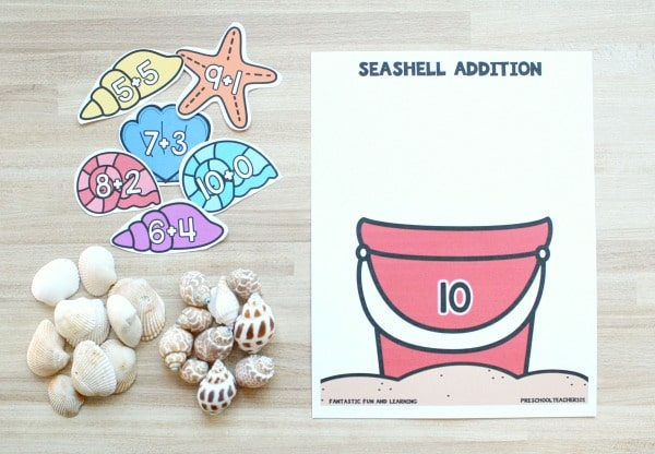 Materials for Seashell Addition Math Game