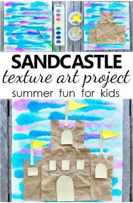 Sandcastle Texture Art Project. Summer Craft for Kids