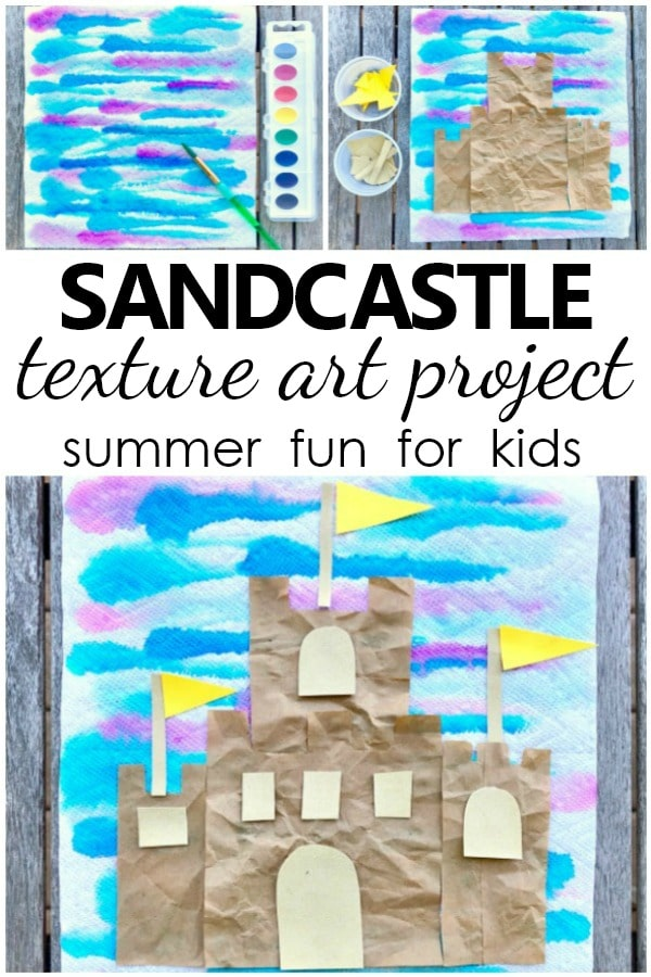 Sandcastle Texture Art Project. Summer arts and crafts for kids.