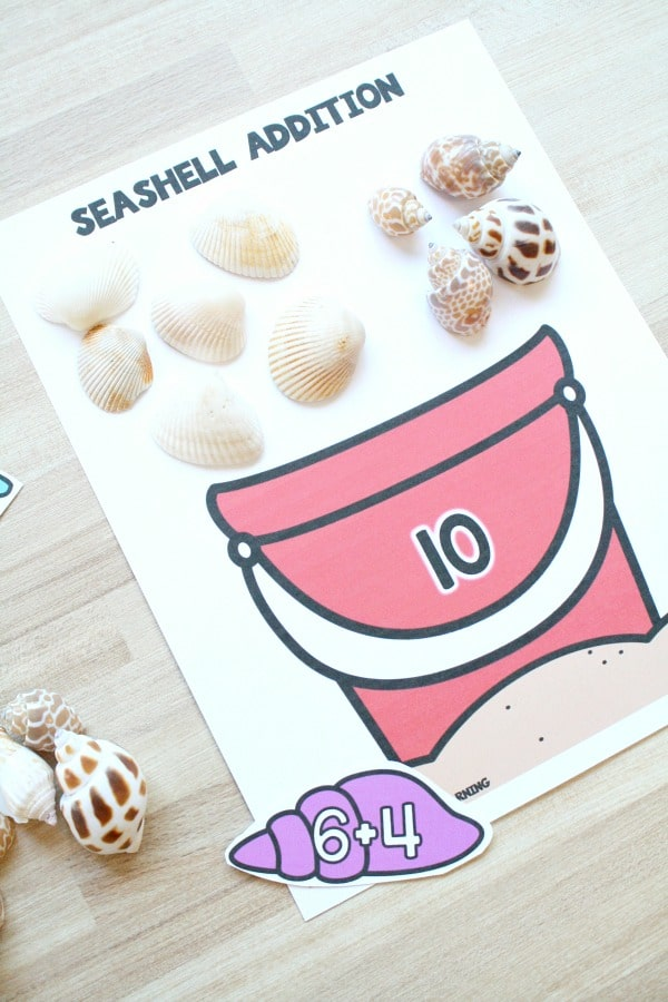 Seashell Addition Game for Kindergarten and First Grade