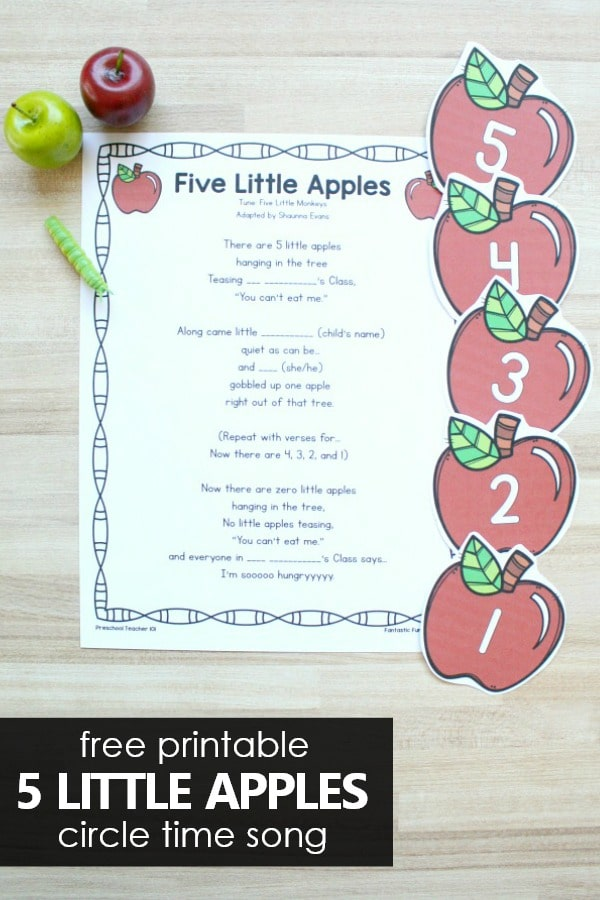 5 Little Apples Preschool Fall Counting Song for Circle Time