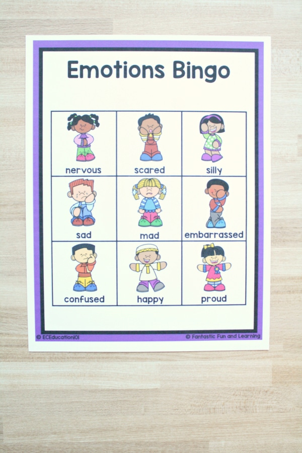 Emotions Bingo-Social Emotional Development for Preschool and Kindergarten