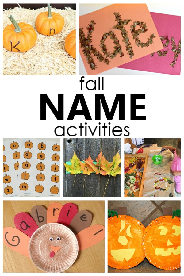 help kids learn to recognize and spell their own name with these fun fall name activities for preschool and kindergarten.