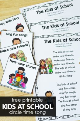 Kids at School First Week of School Song Printable for Preschool and Kindergarten