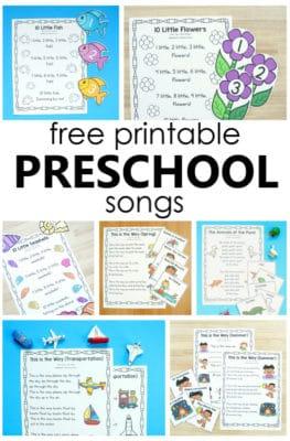 Printable Preschool Songs-Over 24 free printable songs for preschool and kindergarten