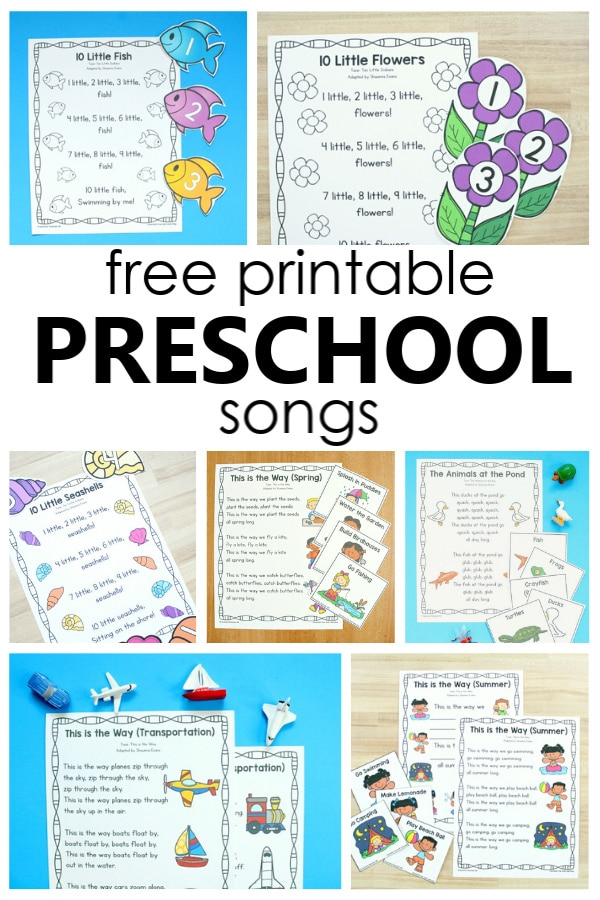 Printable Preschool Songs-Over 24 free printable songs for preschool and kindergarten