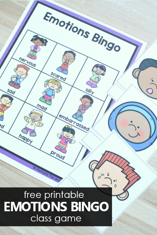 Free printable emotions bingo class game to help kids learn about feelings and social emotional development