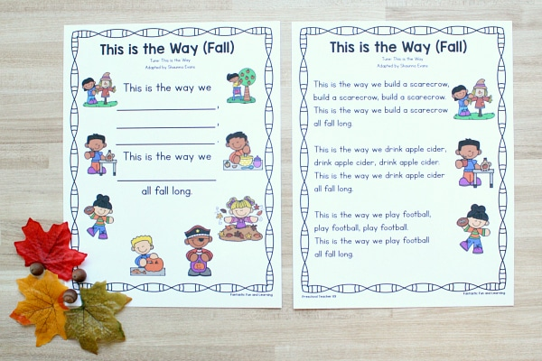 Free printable fall song for prekindergarten