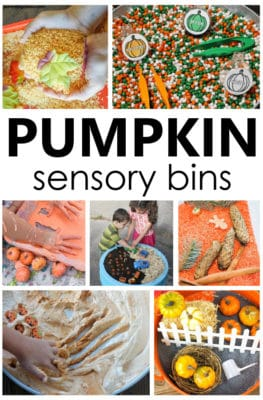 Pumpkin Sensory Bins for fall sensory play in preschool and kindergarten