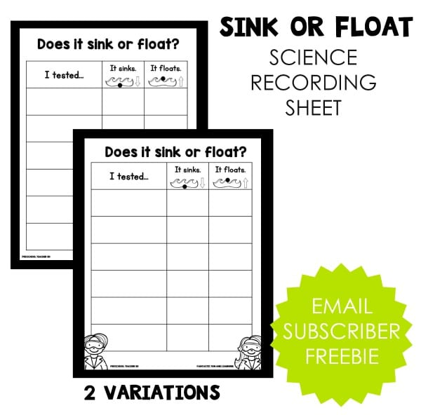 Sink or Float Science Recording Sheet -Free printable  download
