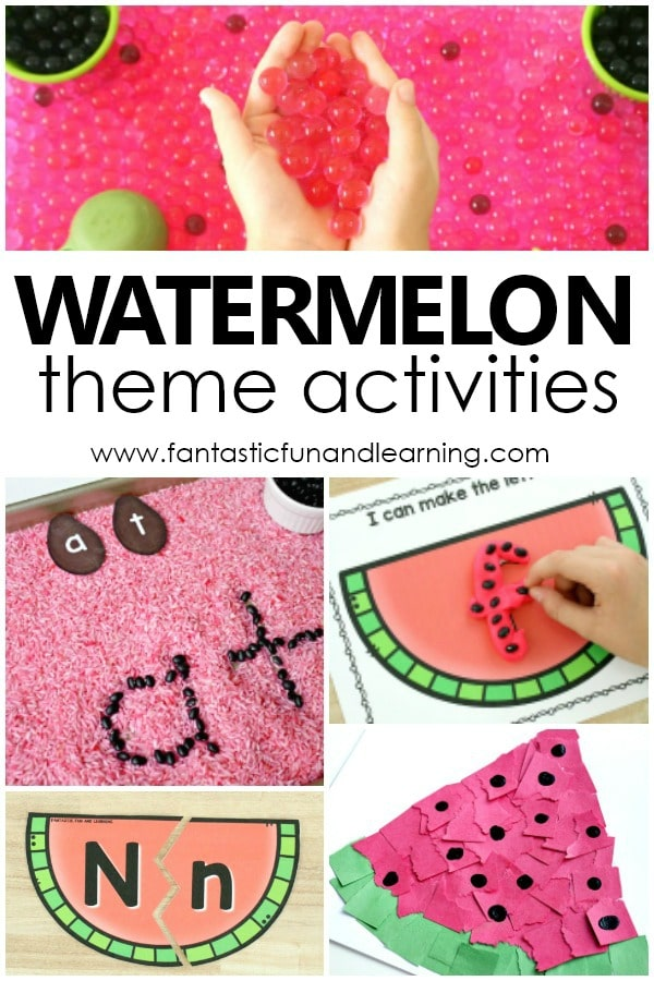 Watermelon theme activities with lesson plans, free printables, book lists, videos and more for a playful watermelon unit for preschool or kindergarten