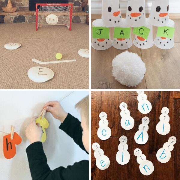 Winter ABC and name activities for preschool and kindergarten