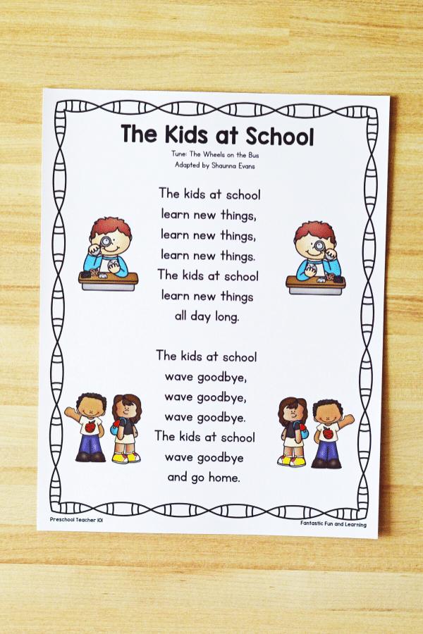 Kids at School Song for First Week of School activities in preschool and kindergarten
