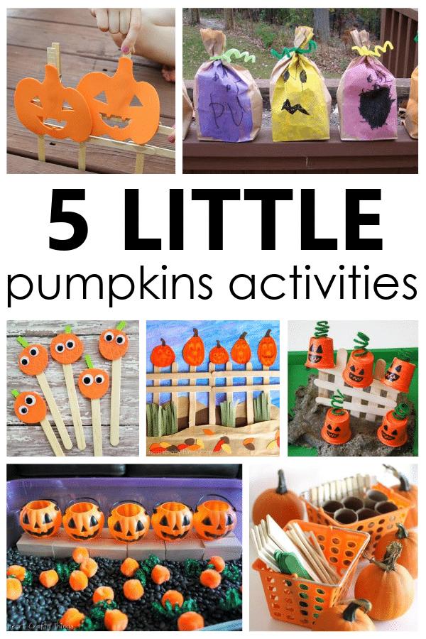 5 Little Pumpkins Activities to go along with the popular Five Little Pumpkins rhyme in preschool and kindergarten fall activities