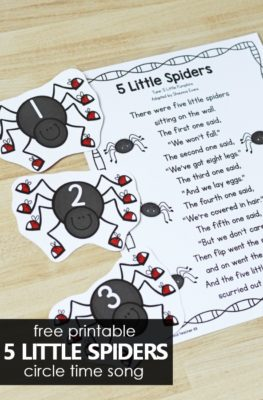 5 Little Spiders Song for Preschoolers. Halloween song for preschool circle time.