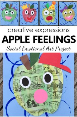 Apple Feelings Art Project for Kids. Social Emotional Art Activity with facial expressions
