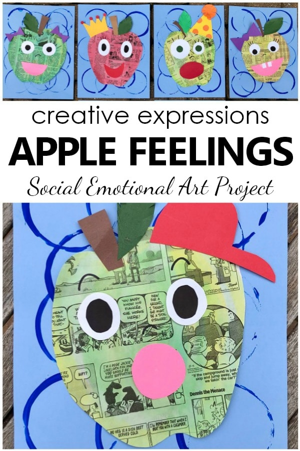 Apple Feelings Art Project-Social emotional art project with facial expressions
