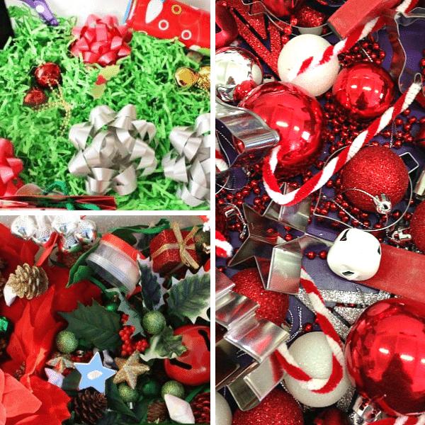 christmas sensory bins collage