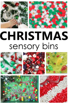 Get kids in the Christmas spirit as they explore different textures and work on fine motor skills with these engaging Christmas sensory bins.