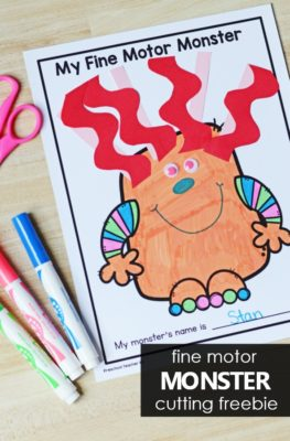 Fine motor monster cutting freebie. Free printable scissor skills activity for preschool and kindergarten