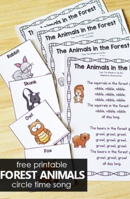Free printable Forest Animals Preschool Song for Circle Time. Movement song for prekindergarten.