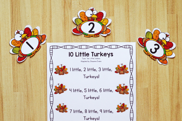 Free printable Thanksgiving Song for Preschoolers