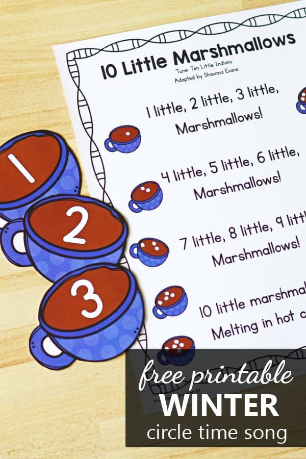 Free printable 10 Little Marshmallows Winter Counting Song for Preschool and Kindergarten