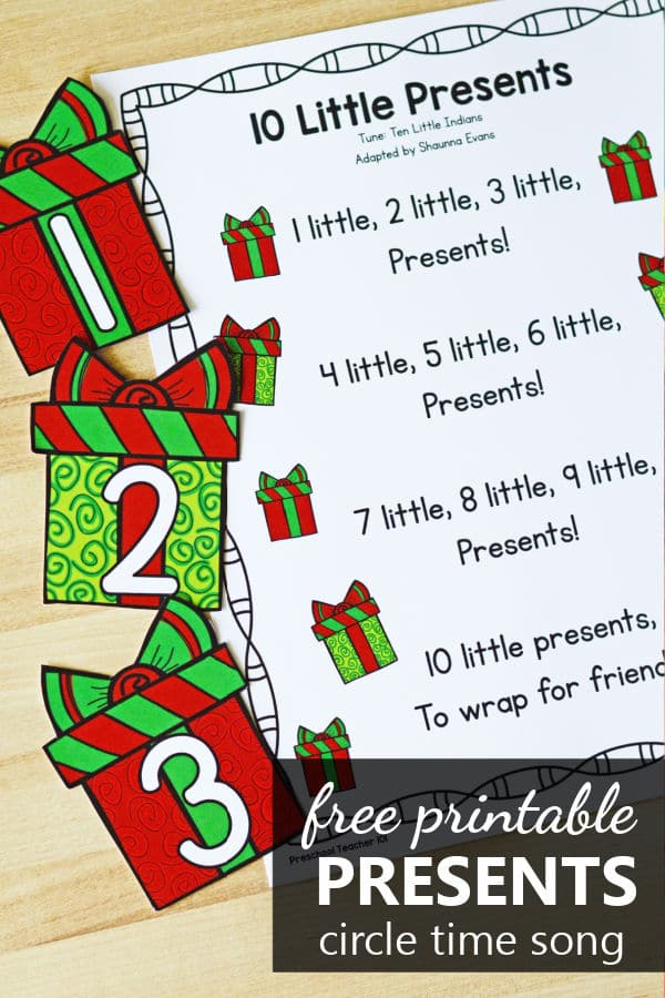 Free printable 10 Little Presents Christmas Counting Song for Preschool and Kindergarten