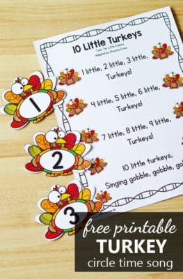 Free printable 10 little turkeys Thanksgiving counting song for preschool and kindergarten