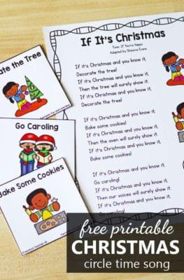 Free printable Christmas movement song for preschool and kindergarten