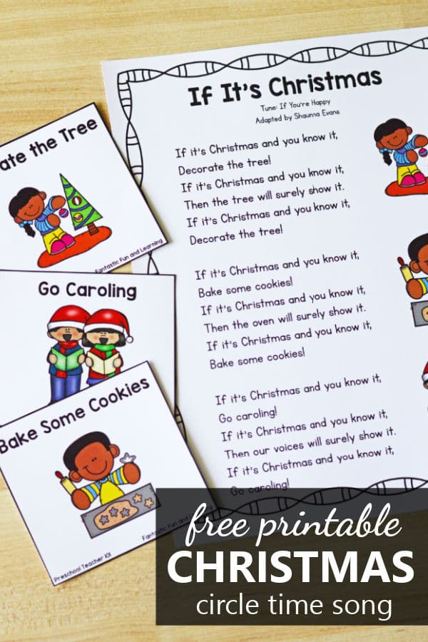 Free printable Christmas movement song for preschool and kindergarten