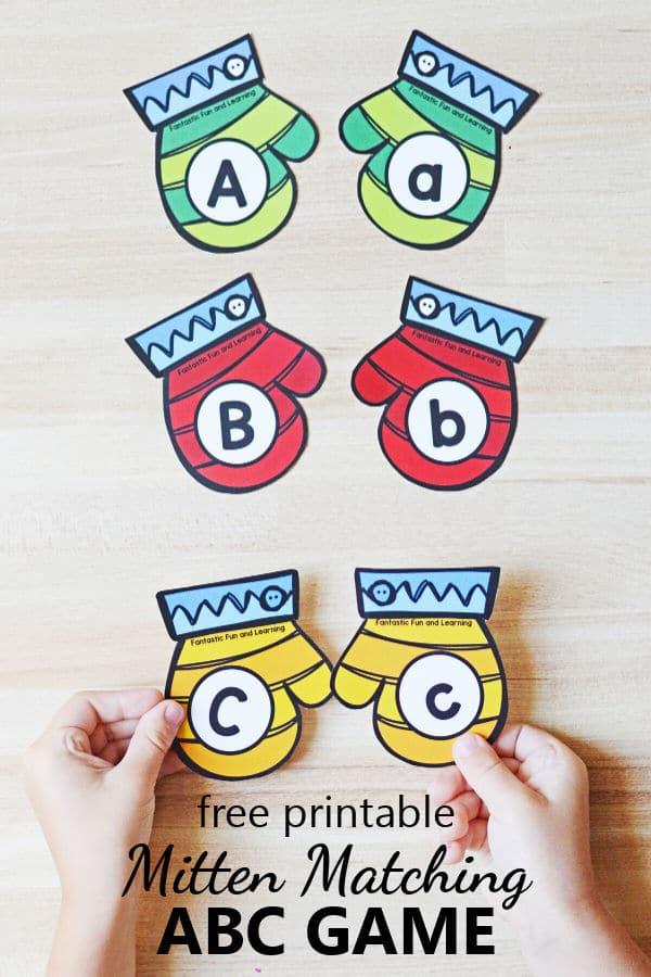Free printable Mitten ABC Matching Game for winter alphabet activities in preschool and kindergarten
