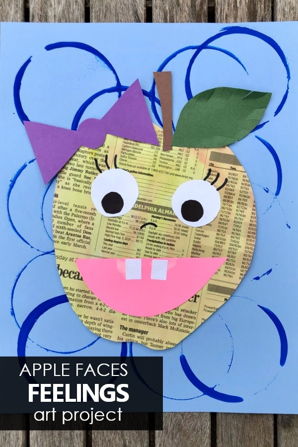 Learn about feelings and social emotional vocabulary with this apple faces feelings art project for kids