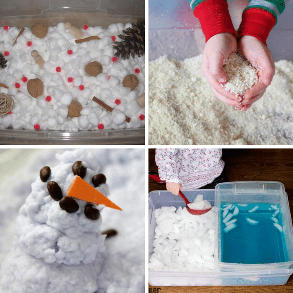 winter sensory bins collage