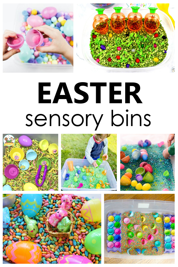 Creative ideas for creating Easter sensory bins to encourage pretend play and sensory explorations for toddlers and preschoolers.