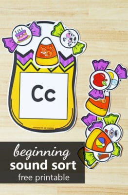 Halloween Candy Initial Sound Sort freebie for preschool and kindergarten Halloween activities