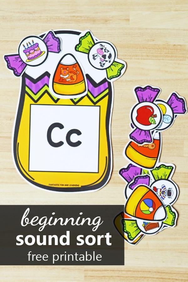 Halloween Candy Initial Sound Sort freebie for preschool and kindergarten Halloween activities