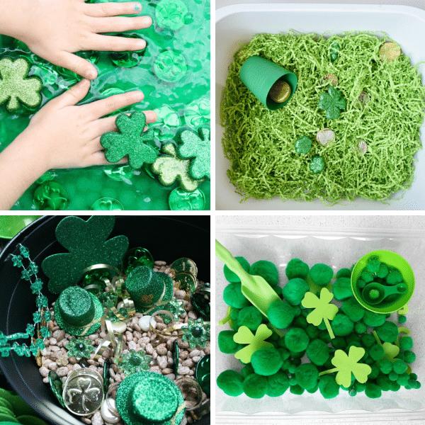 St. Patrick's Day Sensory Bins Collage