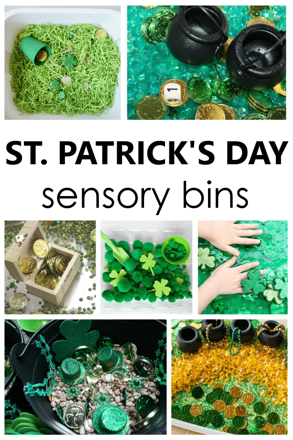 St. Patrick's Day Sensory Bins with fun and engaging sensory play ideas for toddler and preschool St. Paddy's Day activities.