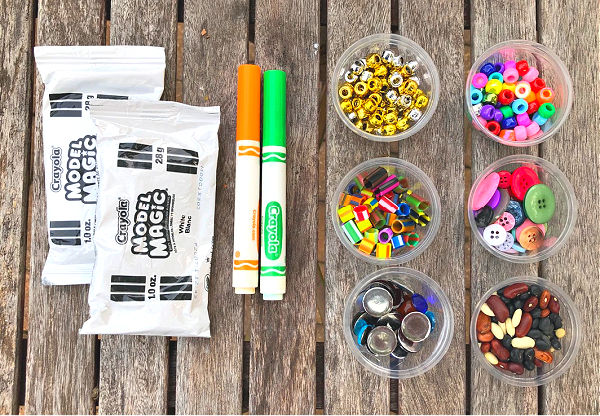 Supplies for Model Magic Pumpkin Dots Art Projects