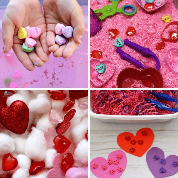 Valentine's Day Sensory Bins  for Preschool