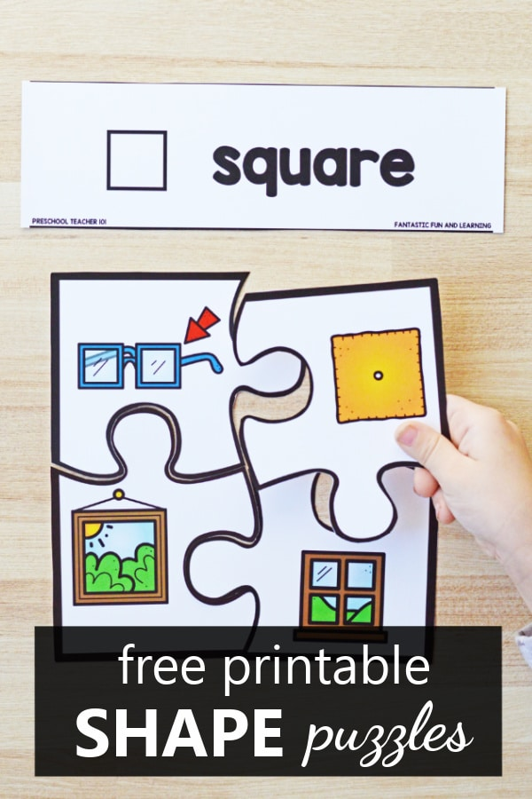 Free printable 2D Shape Puzzles for Preschool and Kindergarten