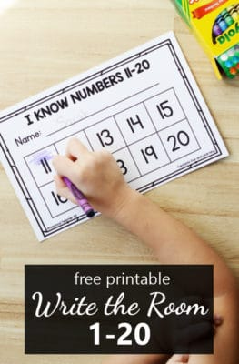 Free printable write the room numbers 1 to 20 math game for preschool and kindergarten