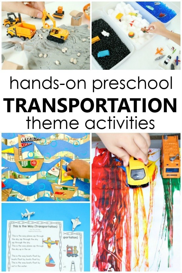 Hands-on Transportation Theme Preschool Activities with lesson plans, art projects, free printables and more